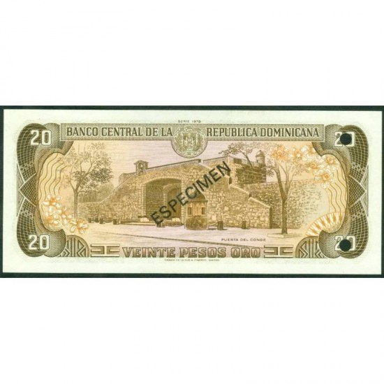 1978 - Dominican Republic P120s1  20 Pesos Oro Specimen banknote