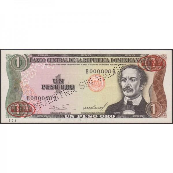 1984 - República Dominicana P126s1 billete 1 Peso Oro Specimen taladrado