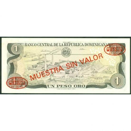 1987 - Dominican Republic P126s2 Peso Oro Specimen banknote