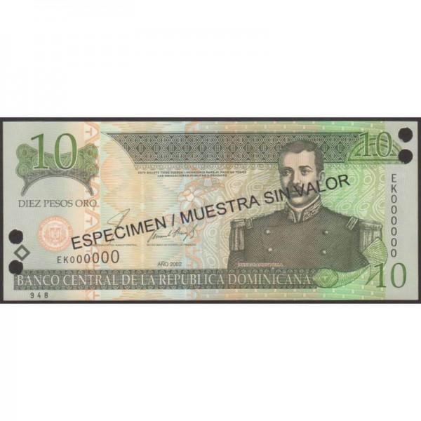 2002 - República Dominicana P168s2 billete 10 Pesos Oro Specimen