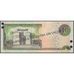2002 - Dominican Republic P168s2 10 Pesos Oro Specimen banknote