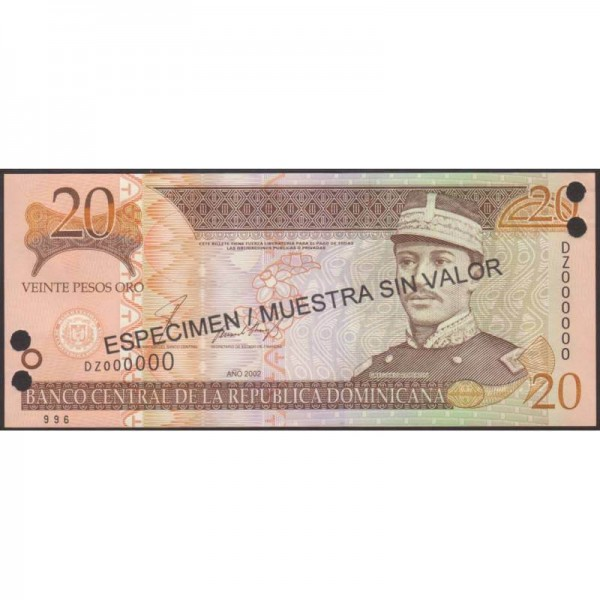 2002- República Dominicana P169s2 billete 20 Pesos Oro Specimen