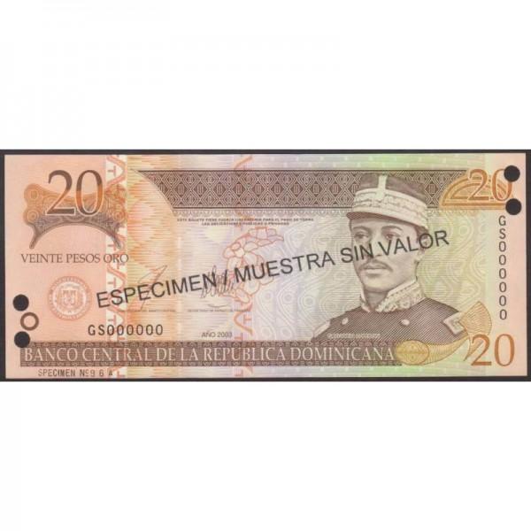 2003- República Dominicana P169s3 billete 20 Pesos Oro Specimen