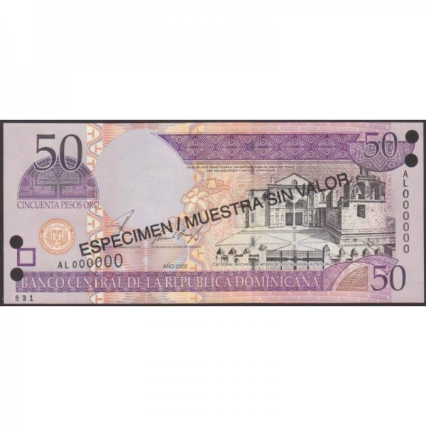 2002 - República Dominicana P170s2 billete 50 Pesos Oro