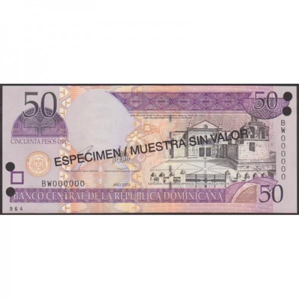 2003 - República Dominicana P170s3 billete 50 Pesos Oro