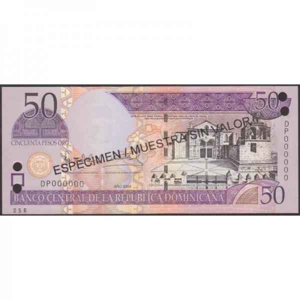 2004 - República Dominicana P170s4 billete 50 Pesos Oro