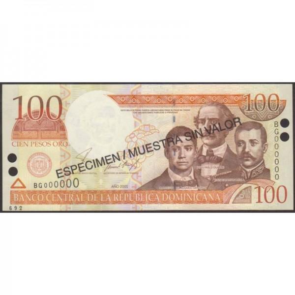 2001 - República Dominicana P171s1 billete 100 Pesos Oro  Specimen