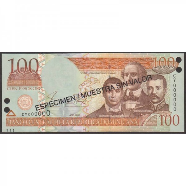 2002 - República Dominicana P171s2 billete 100 Pesos Oro  Specimen