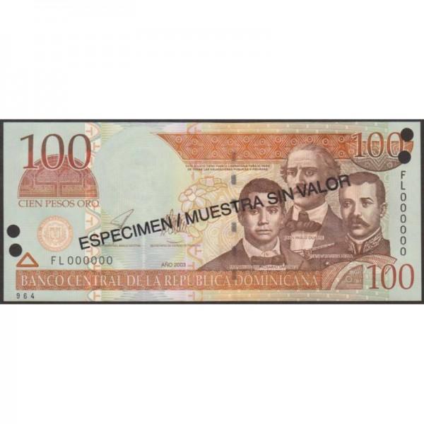 2003 - República Dominicana P171s3 billete 100 Pesos Oro  Specimen