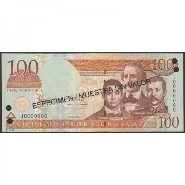 2004 - Dominican Republic P170s4 100 Pesos Oro  Specimen banknote