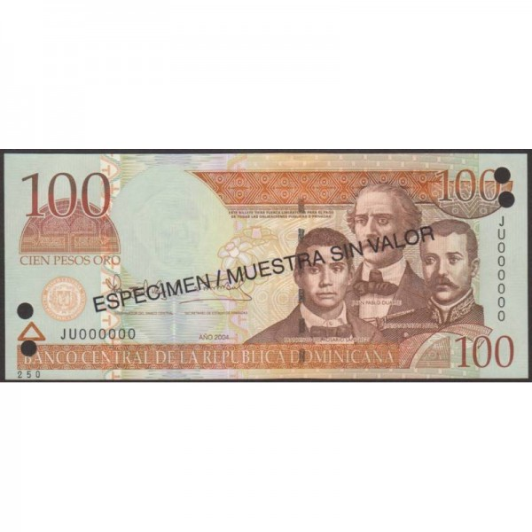 2004 - República Dominicana P171s4 billete 100 Pesos Oro  Specimen