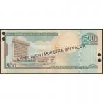 2002 - República Dominicana P172s1 billete 500 Pesos Oro  Specimen