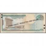 2004 - República Dominicana P172s3 billete 500 Pesos Oro  Specimen