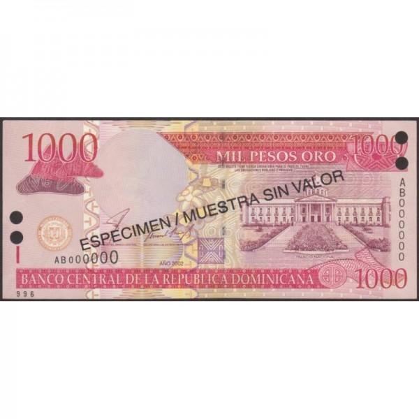 2002 - República Dominicana P173s1 billete 1000 Pesos Oro  Specimen