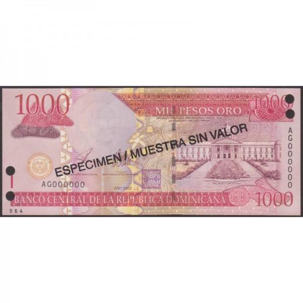 2003 - Dominican Republic P5173s2 1000 Pesos Oro banknote