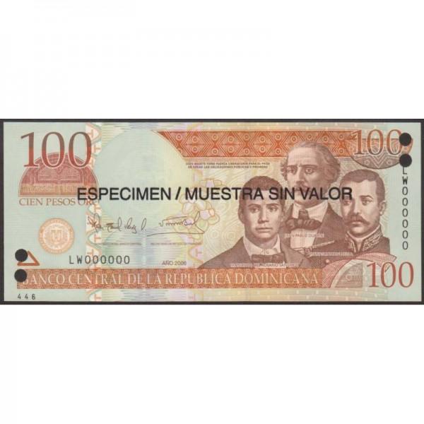 2006 - República Dominicana P177s1 billete 100 Pesos Oro  Specimen