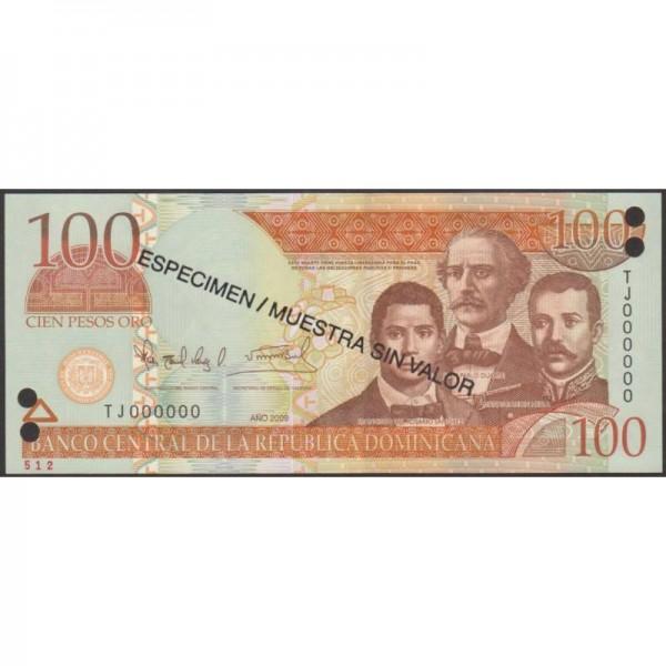 2007 - República Dominicana P177s2 billete 100 Pesos Oro  Specimen