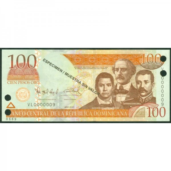 2010 - República Dominicana P177s3 billete 100 Pesos Oro  Specimen