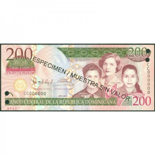 2009 - República Dominicana P178s1 billete 200 Pesos Oro  Specimen