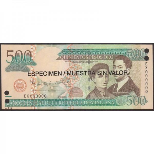 2006 - República Dominicana P179s1 billete 500 Pesos Oro  Specimen