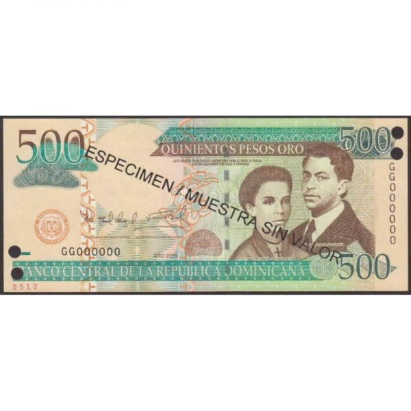 2009 - República Dominicana P179s2 billete 500 Pesos Oro  Specimen