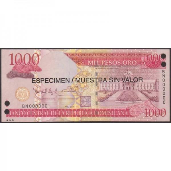 2006 - Dominican Republic P180s1 1000 Pesos Oro  Specimen banknote