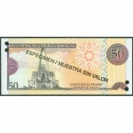 2011 - República Dominicana P183s billete 50 Pesos Oro Specimen