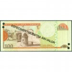 2011 - República Dominicana P184s billete 100 Pesos Oro Specimen