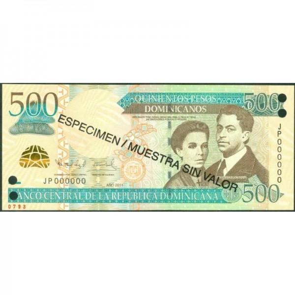 2011 - República Dominicana P186s billete 500 Pesos Oro Specimen